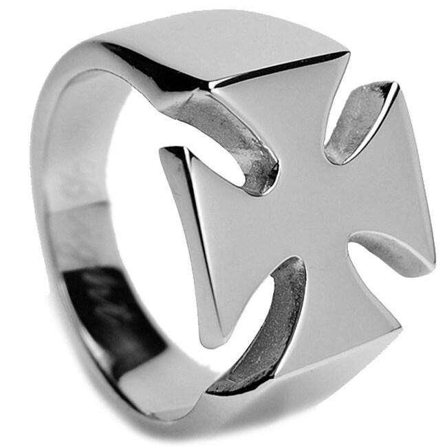 Oliveti Stainless Steel Men's Cast Cross Ring