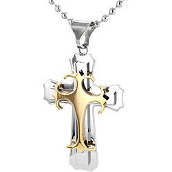 Stainless Steel Layered Cross with Gold Accent Necklace