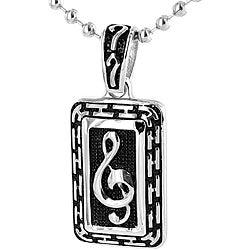 Stainless Steel Silvertone Music Note Necklace