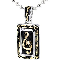 Stainless Steel Goldtone Music Note Necklace