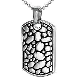 Stainless Steel Pebble Rock Dog Tag Necklace