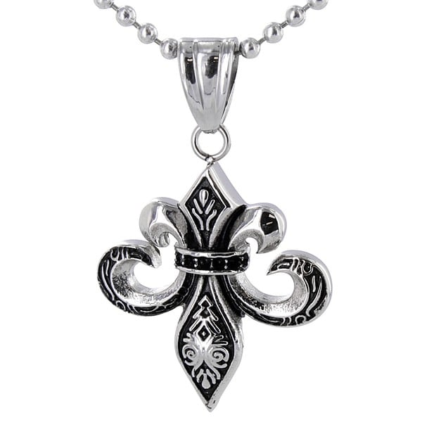 Stainless Steel Antiqued Fleur De Lis Necklace