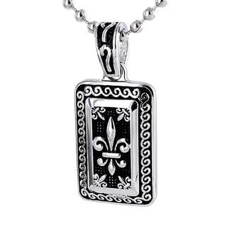 Stainless Steel Silvertone Fleur De Lis Necklace