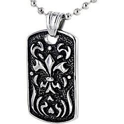 Stainless Steel Fiery Fleur De Lis Necklace