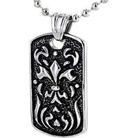Stainless Steel Fiery Fleur De Lis Necklace