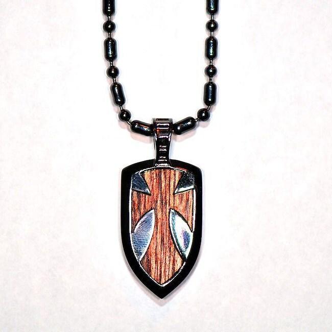 Bico Australia Fine Grade Pewter Galahad Shield Pendant Necklace