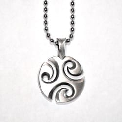 Fine Grade Pewter Three Waves Pendant Necklace