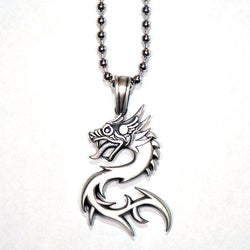 Fine Grade Pewter Nuwa Dragon Necklace