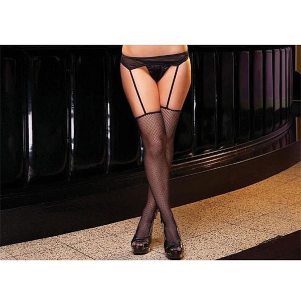Emaje' Women's Garter Belts with Fishnet Thigh High Stockings (Set of 2)