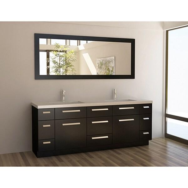 Design Element Contemporary Espresso Double Sink Vanity Set