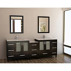 Design Element Galatian 88-inch Espresso Double Sink Bathroom Vanity Set