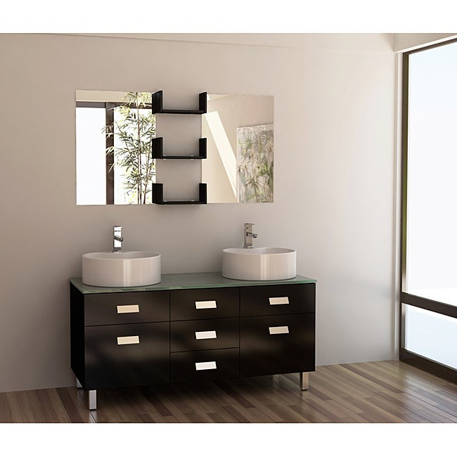 Shop design element wellington 55 inch double sink bathroom vanity set with vessel sinks free for 55 inch double sink bathroom vanity