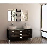 Design Element Wellington 55-inch Double Sink Bathroom Vanity Set with Vessel Sinks