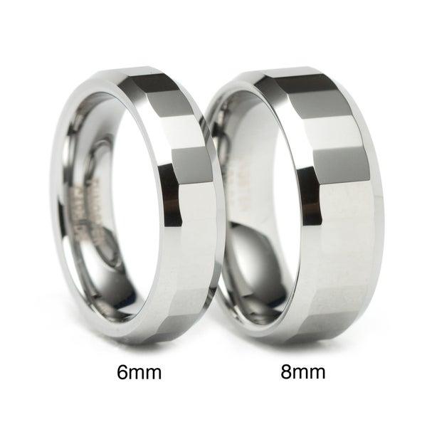 Men's Tungsten Rectangular Facet Band (8 mm)