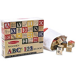 Melissa & Doug Wooden ABC/123 Blocks Set