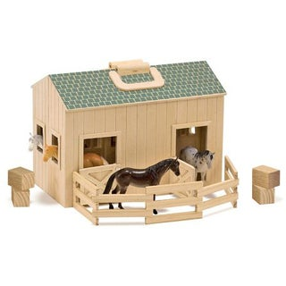 Melissa & Doug 'Fold and Go' Stable Set with Four Plastic Horses