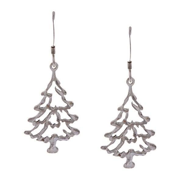 La Preciosa Sterling Silver Diamond-cut Tree Earrings