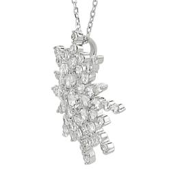 Journee Silvertone Cubic Zirconia Snowflake Necklace