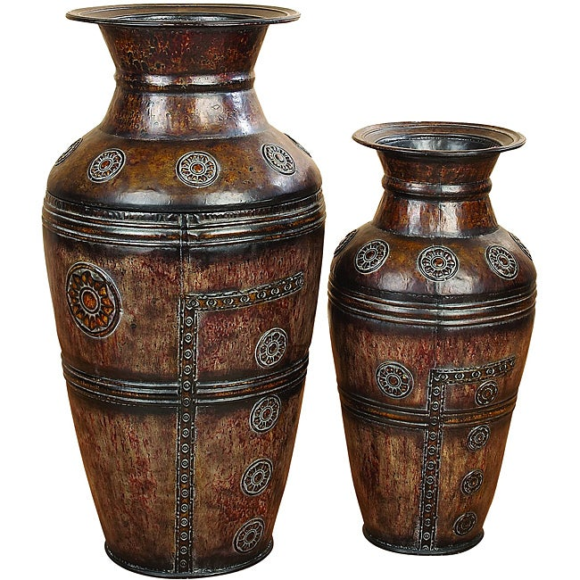 Athena Large Rustic Decorative Metal Vase 2 Piece Set