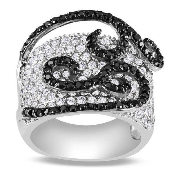 Miadora Sterling Silver White and Black Cubic Zirconia Ring (8 1/6ct TGW)