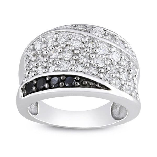 Miadora Sterling Silver Black and White Cubic Zirconia Fashion Ring