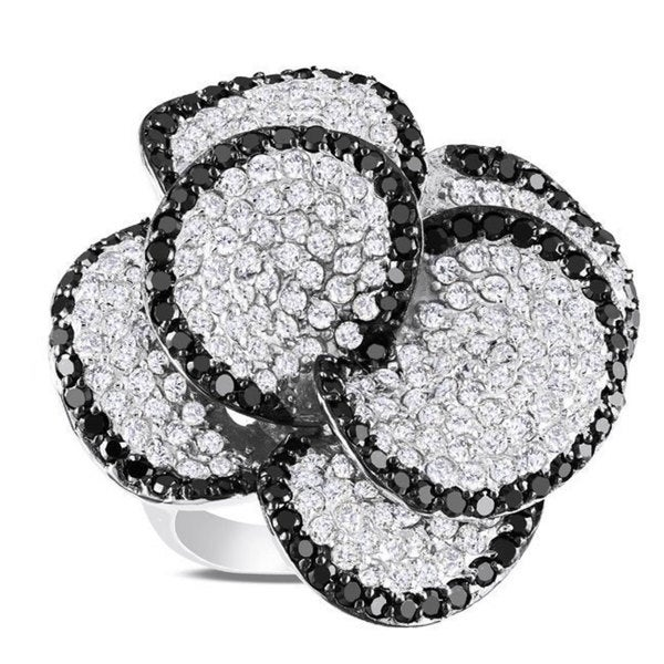 Catherine Catherine Malandrino Sterling Silver White and Black Cubic Zirconia Flower Ring (12ct TGW)