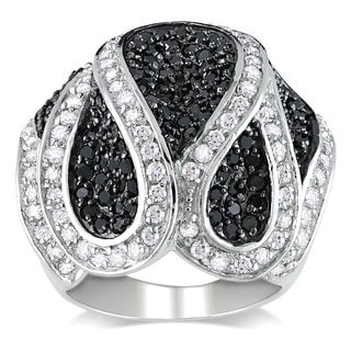 Miadora Sterling Silver White and Black Cubic Zirconia Ring (5 3/4ct TGW)