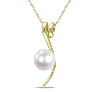 Miadora 10k Yellow Gold White Cultured Freshwater Pearl Fashion Necklace (6.5-7 mm)
