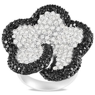 Catherine Catherine Malandrino Sterling Silver White and Black Cubic Zirconia Ring (9 7/8ct TDW)