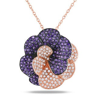Miadora Sterling Silver Purple and White Cubic Zirconia Necklace (12ct TGW)