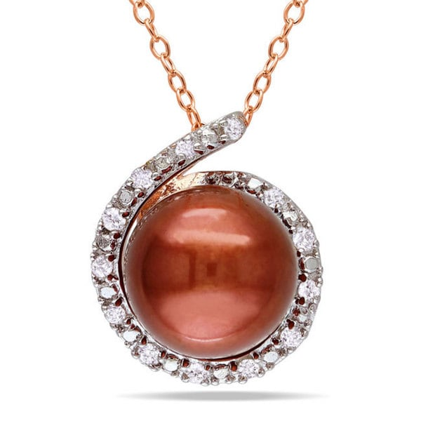 Miadora Pink Silver FW Chocolate Pearl and Diamond Accent Necklace (8-8.5 mm)