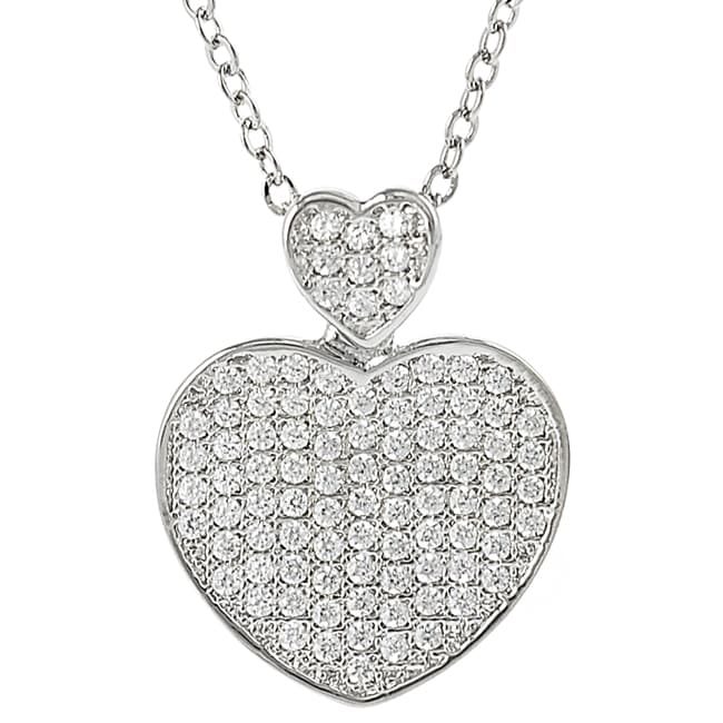 Journee Collection  Silvertone Pave-set Cubic Zirconia Heart Necklace