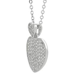 Journee Collection  Silvertone Pave-set Cubic Zirconia Heart Necklace - Thumbnail 1