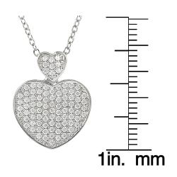 Journee Collection  Silvertone Pave-set Cubic Zirconia Heart Necklace - Thumbnail 2