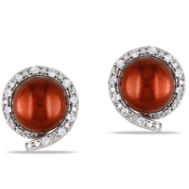 Miadora Pink Silver FW Pearl and 1/10ct TDW Diamond Stud Earrings (G-H ,I3)