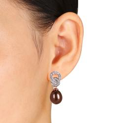 Miadora Pink Silver FW Chocolate Pearl and 1/10ct TDW Diamond Stud Earrings (G-H, I3) - Thumbnail 2