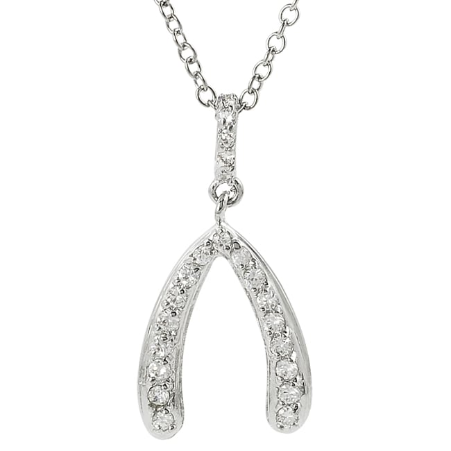 Journee Silvertone Pave-set Cubic Zirconia Wishbone Necklace
