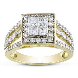 Miadora Signature Collection 14k Yellow Gold 1 1/2ct Princess and Baguette-cut Diamond Halo Engagement Ring (G-H, I2-I3)