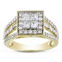 Miadora Signature Collection 14k Yellow Gold 1 1/2ct Princess and Baguette-cut Diamond Halo Engageme