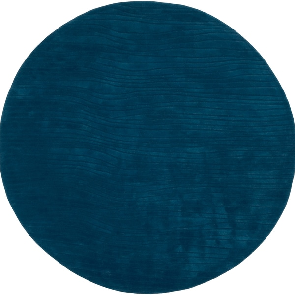 Hand-tufted Blue Casual Solid Kidderminster New Zealand Wool Rug (8' Round)