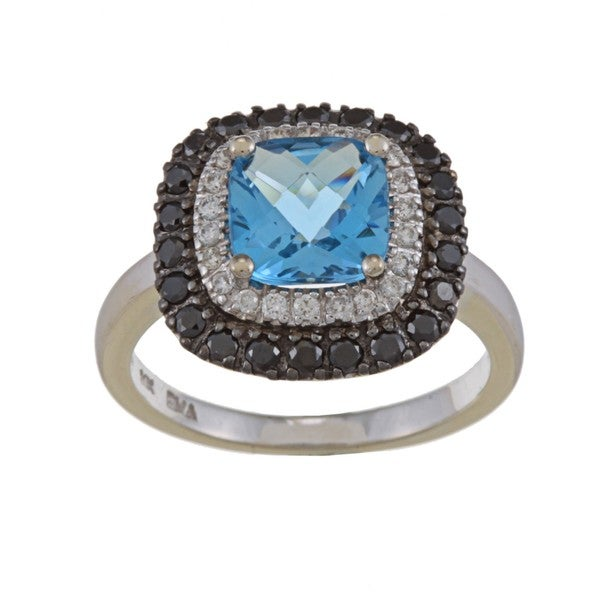 14k White Gold Blue Topaz and 1/2ct TDW Diamond Ring (G-H, SI1-SI2)