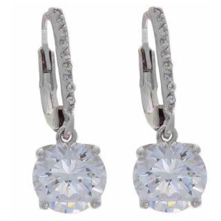 NEXTE Jewelry Silvertone Solitaire Dangle Earrings With Accent Stones