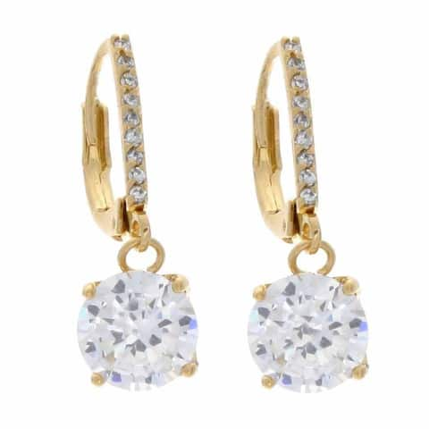 NEXTE Jewelry Goldtone Cubic Zirconia Solitaire Dangle Earrings