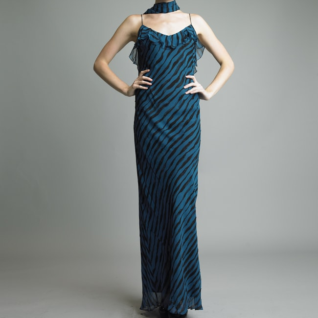 Issue New York Women's Teal Printed Silk Cocktail Dress