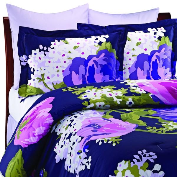 Isaac Mizrahi Purple Cotton Sateen 6 piece King size Comforter Set