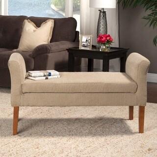 HomePop Decorative Brown Cream Geometric Dot Bench