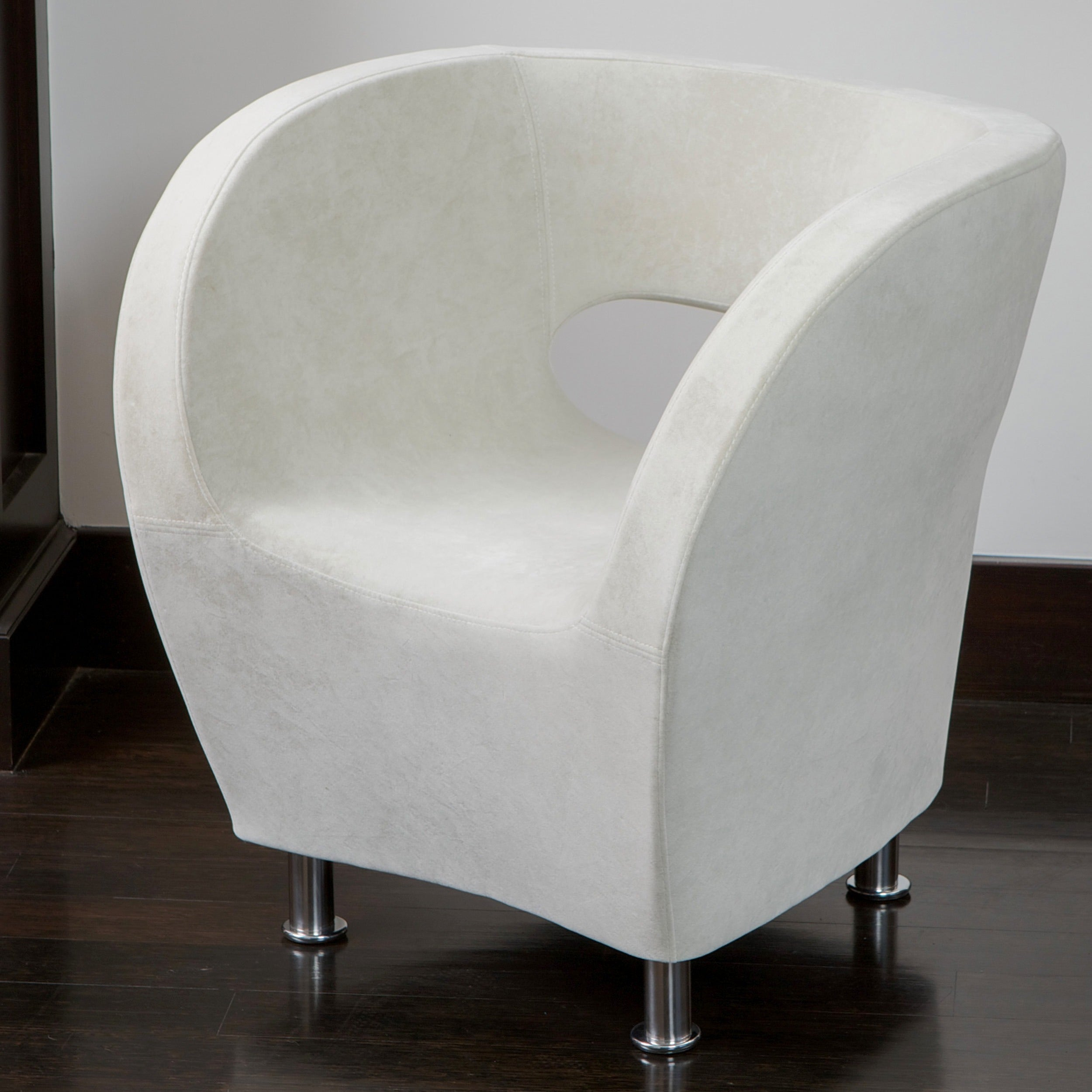 Shop Modern Ivory Microfiber Accent Chair By Christopher Knight Home Overstock 6367513