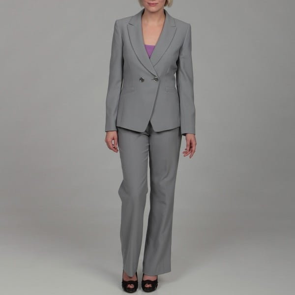 Tahari Women's Grey Double-breasted Pant Suit