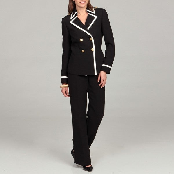 Tahari Women's Black Gold Button Pant Suit