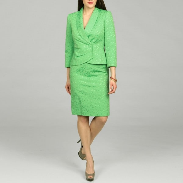 Tahari Women's Green Apple Skirt Jacquard Skirt Suit - Free ...